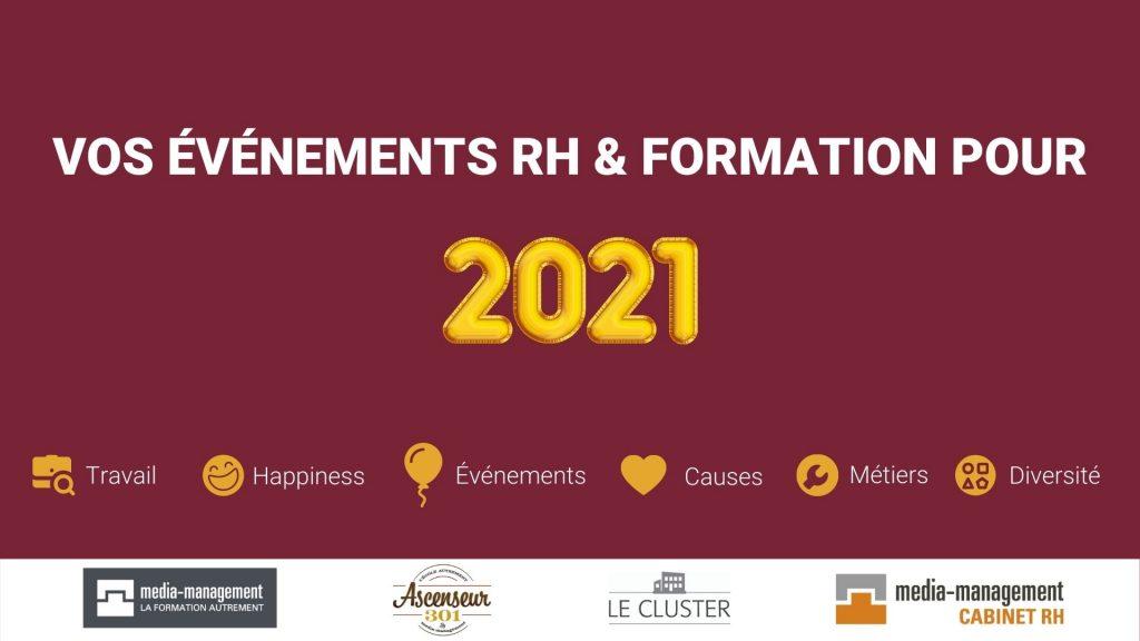 calendreir des événements RH et formation de 2021 marronnier media management